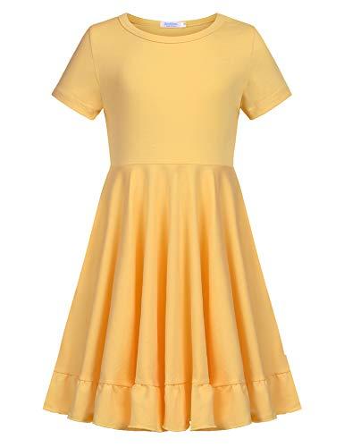 Mädchen A-linie Kleid (Kleid Mädchen Sommer A-Linie Kurzarm Baumwolle T-Shirt Kleider Freizeitkleidung Gr. 110-150)