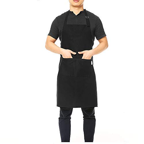 esonmus Cucina Multiuso Cucina BBQ Grembiule da Cucina Grembiule da Cameriere alla griglia con Fascia per Collo Regolabile Vita Lunga Cravatta Due Tasche Frontali per chiunque (Nero)