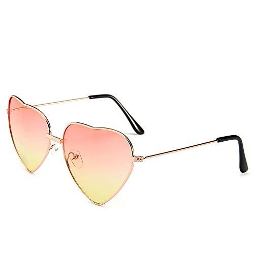 HUWAIYUNDONG Sonnenbrillen,Süßigkeit-Farben-Liebes-Herz-Geformte Sonnenbrille-Frauen-Metallrahmen-Retro Sonnenbrille-Rosa-Gelb