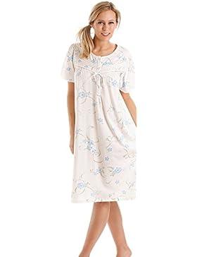 Camicia da notte da donna, con motivo floreale, blu, lilla, rosa–taglie comode disponibili