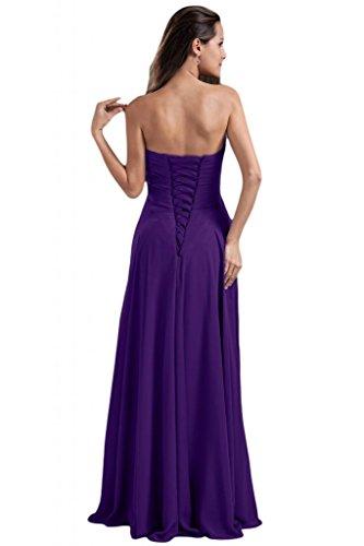 Sunvary Liebling Herzform Abendkleider Lang Chiffon Cocktailkleider Brautjungfernkleider Partykleider Violett