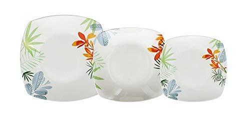 Tognana Service de table 18 pièces Square Ines Service Assiettes carrés 6 plans 6 Creuses 6 Dessert Décor ORONERO porcelaine lavable en Lave-vaisselle