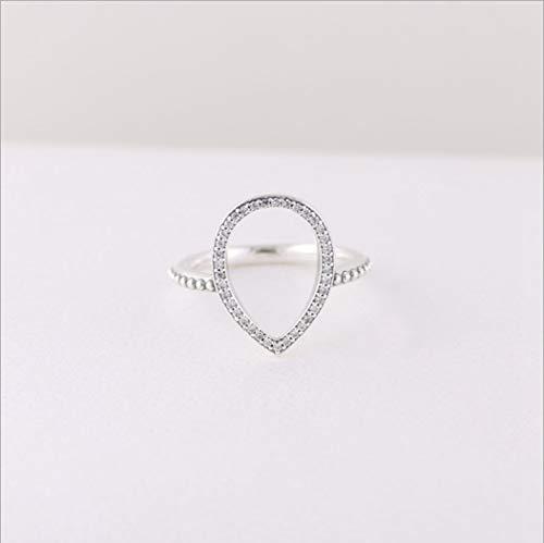 Yoyoyaya anello argento 925 gioielleria femmina silhouette di strappo vuoto goccia d'acqua squisita data semplicità ragazza compleanno commemorazione dono matrimoni romance sogno,16