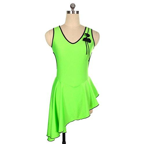Heart&M Eiskunstlauf-Kleid Damen-Eislauf-Performance-Kleid für Mädchen Stretchy schweißableitende Kurzarm-Grün, XXXL