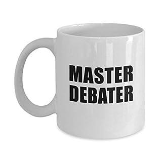 Master Debater Mug Acrylic Coffee Holder White 11oz Funny Occupation Play On Words Debate Club