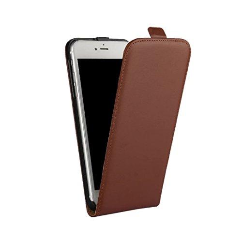 AMEEGO iPhone SE / 5S / 5 Erstklassiger echter dünner realer lederner Mappen-Schlag-Fall BROWN