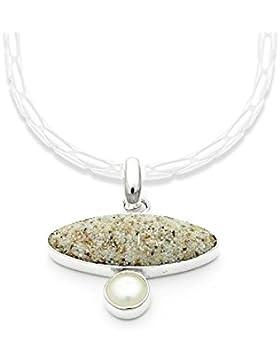 Anhänger Strandsand/Perle 925er Silber