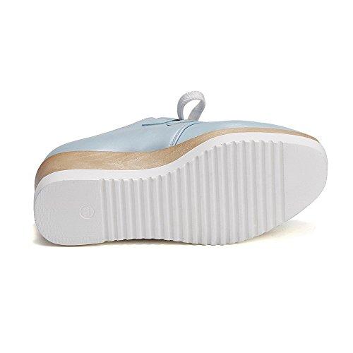 AllhqFashion Femme à Talon Correct Couleur Unie Lacet Carré Chaussures Légeres Bleu