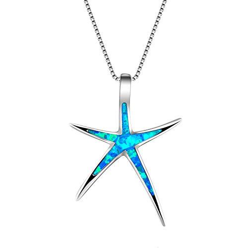 JYJE Mujer Collar Colgante Estrella de Mar Cristal, Plata Cadena Collar Clavícula, Azul