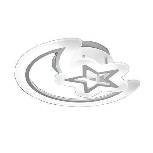 Ein Stern-wandleuchte (Deckenlampe LED Kreativ Deckenleuchte Kinderzimmerlampe 34W Acryl Mond Stern Modern Aluminium Decken Lampen Wandleuchte Einfach Schlafzimmer Wohnzimmer Beleuchtung Ø50cm)