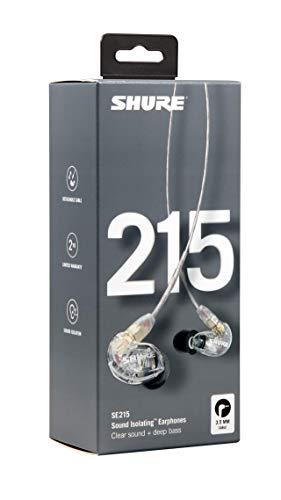 Shure SE215-CL Professionellen Ohrhörer mit Sound IsolatingTM Design, dynamischem MicroDriver und transparentem Kabel mit 3,5-mm-Klinke für transparenten Klang mit tiefen Bässen - 6