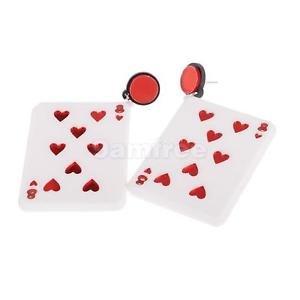 Alcoa Prime 1 Pair Rock Poker Earrings Hearts 8 Playing Cards Dangle Stud Earring Drop