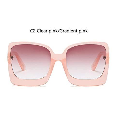 YLNJYJ Markendesign Übergroße Sonnenbrille Lady Big Frame Schwarzes Quadrat Schattierungen Vintage Sonnenbrille Für Frauen Sommerbrille Uv400 Oculos