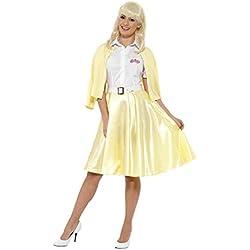 Smiffys Licenciado Oficialmente Disfraz de Sandy de Grease, Amarillo, con Camisa, Falsa Chaqueta, Falda, cinturó