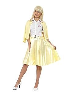 Smiffys-42900L Licenciado Oficialmente Disfraz deSandy de Grease, Amarillo, con Camisa, Falsa Chaqueta, Falda, cinturó, Color, L-EU Tamaño 44-46 (Smiffy