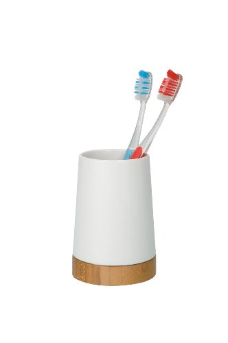 Wenko 17675102 Bicchiere porta spazzolini in porcellana e legno di bamb