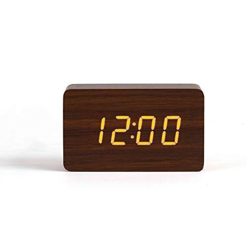 LIVOO Wecker Digital Holzoptik Weckfunktion Temperaturanzeige Datumsanzeige (USB-Kabel, Tischuhr, Batteriebetrieben, Sound-Steuerungsmodus, Braun) Digitale Usb-kabel