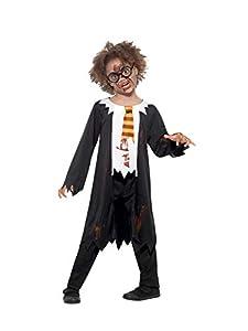 Smiffys 49831M - Disfraz de zombi para estudiante, unisex, para niños, color blanco y negro, talla M de 7 a 9 años