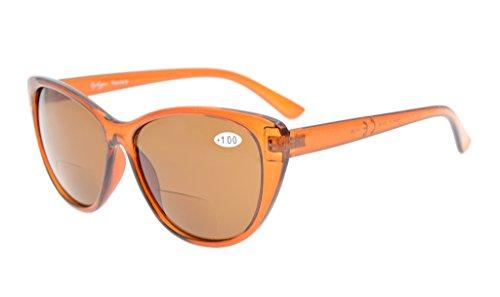 Eyekepper Katzenaugen-Art-Frauen Bifocal Sonnenbrille Braun Linse +2.5