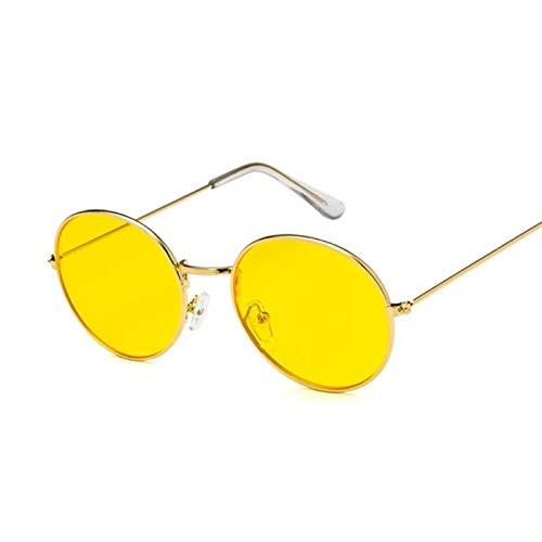 Daawqee Ocean Yellow Red Round Sun Glasses For Women Mirror Retro Ladies Luxury Small Sunglasses Women Designer Oculos De Sol Gold Yellow