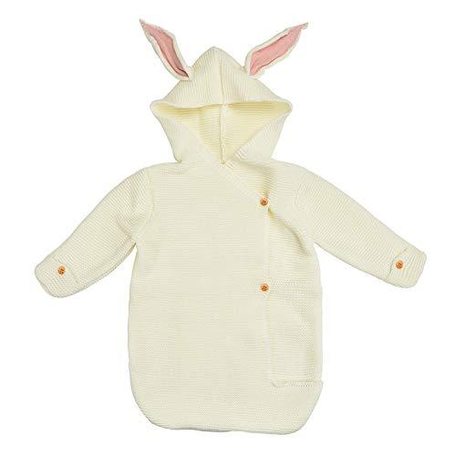 TOOSD Schlafsack-Baby-Niedliches Kaninchen-Ohr-Schlafsack-Gestrickter Warmer Anti-Tritt Steppdecke-Spaziergänger-Wollschlafsack,D -