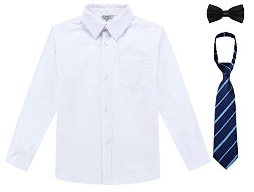 Bienzoe ragazzo uniforme scolastica manica lunga bottone giù oxford camicia bianca dimensione 14