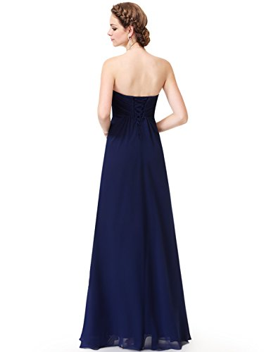 Ever Pretty Damen Elegant Trägerlos Lang Abendpartykleid 08864 Marineblau