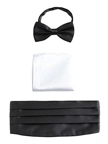 WANYING Herren Satin Kummerbund Fliege Einstecktuch 3 in 1 Set für Hochzeit Party Ball Banquet Smoking Gentleman - Schwarz Weiß