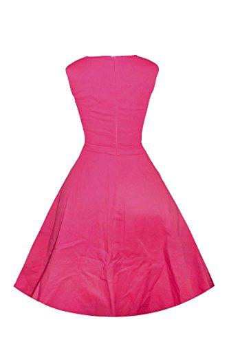 ILover 40s 50s 60s Retro vintage Rockabilly kleid Hepburn Stil Partykleid Cocktailkleid 50er Jahr Abendkleid Rosarot