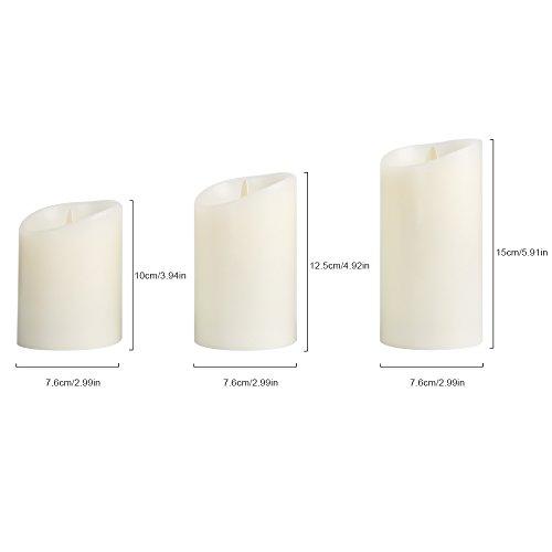 MAXINDA Velas Artificiales, Velas Decorativas con Luz con Aroma de Vainilla y Mando a Distancia Para Cambiar el Color (3 Unidades de 10, 12.5 y 15 cm)