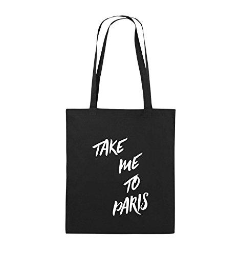 Comedy Bags - TAKE ME TO PARIS - Jutebeutel - lange Henkel - 38x42cm - Farbe: Schwarz / Silber Schwarz / Weiss
