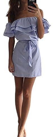 ALAIX Damen Modernes Schulterfreies Boot-Ausschnitt Gestreiftes Kleid mit Gürtel und Volants Blau-L