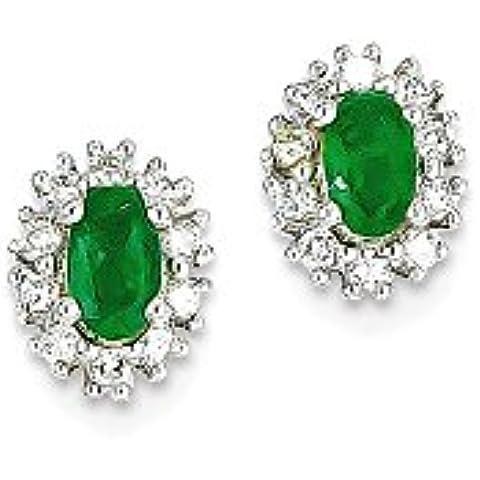 Icecarats Designer Di Gioielli In Oro 14K Bianco 1 / 5CT Orecchini Di Diamanti Smeraldo - 5 Ct Orecchini Di Diamanti