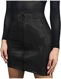 Carolilly Minifalda de Mujer con Cremallera Falda de Cintura Alta Lápiz  Corto Elegante Moda Negro Blanco bfce4eb16151