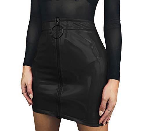Carolilly Damen PU-Lederrock Wetlook Reißverschluss Rock Frühling/Herbst Party Clubwear Minirock (L, Schwarz)