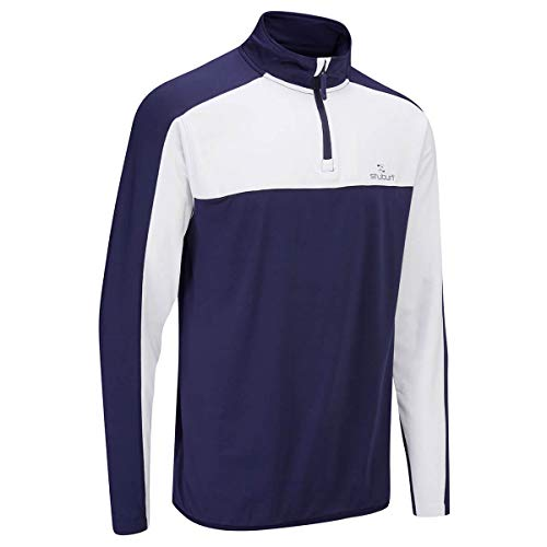 Stuburt Golf 2019 Herren Evolve Sport Mid Layer 1/4 Zip Windproof Golf Sweater Midnight Large