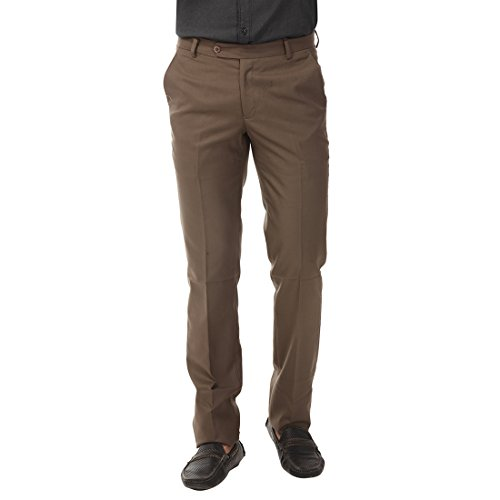 Club Fox Men's Coffee Solid Regular Fit Stretchable Trouser  available at amazon for Rs.749