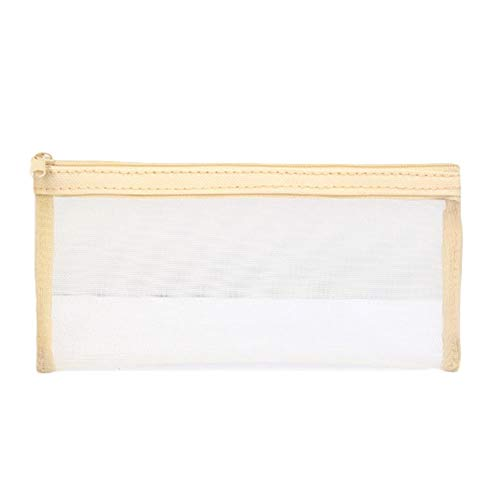 Fansi 1 Stück Briefpapier Federmäppchen Kleine Mesh transparent Reißverschluss Federmäppchen Test Ersatz Tasche Anzug für die Schule täglichen Bedarfs