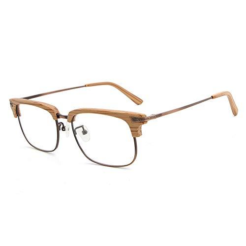 Yiph-Sunglass Sonnenbrillen Mode Frame Männer und Frauen Holzmaserung Flat Glasses Frame Retro Half Frame Brille (Color : Gelb, Size : Kostenlos)