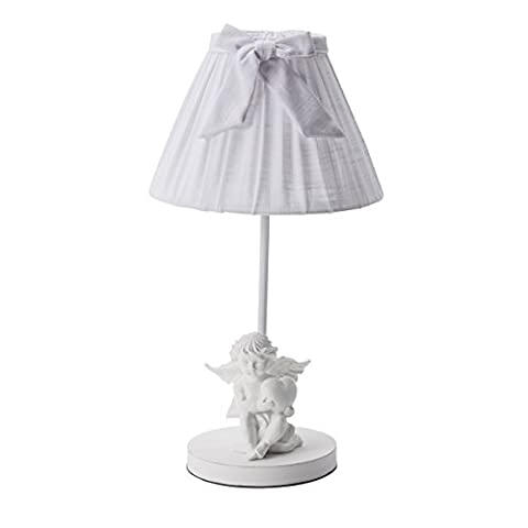 Lampe à poser ange avec coeur, abat-jour en tissu et noeud blanc