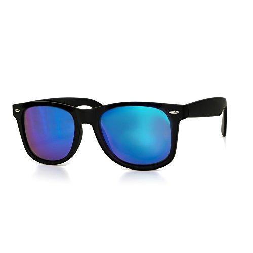 Sonnenbrille Herren oder Damen Unisex Wayfarer Motorradbrille Retro Verspiegelt UV400 CAT 3 CE-Norm schwarz blau gold von EYES ON ME, Farbe:Schwarz Lila Blau Verspiegelt