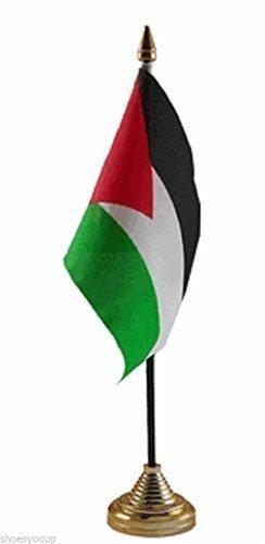In poliestere, motivo: bandiera della Palestina da tavolo 15,24 cm (6