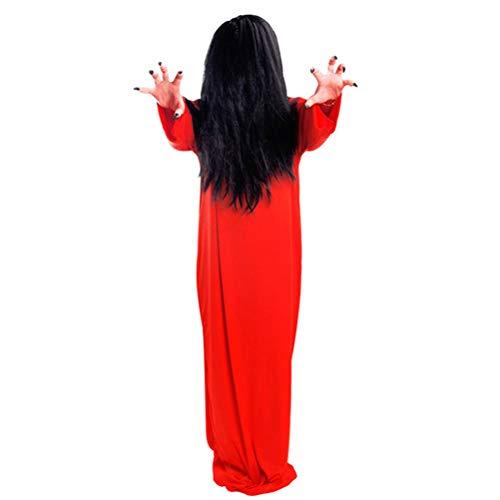 lloween Ghost Kostüm Weibliche Scary Kostüme für Maskerade Cosplay Party (Scorpion Kostüm Rot + Braid Schwarz Haar) ()