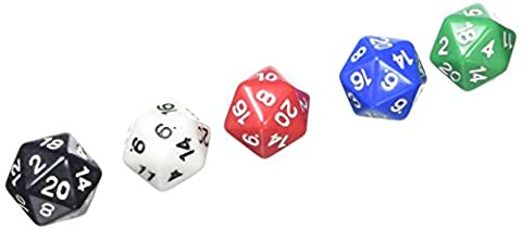 ADC Blackfire Entertainment 91495 - Würfel 20 mm Assorted D20 Dice, 5 Stück