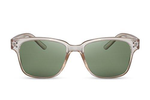 Cheapass Sonnenbrille Recht-Eckig Transparent Grün-e Gläser UV-400 Vintage Nerdy Plastik Damen Herren
