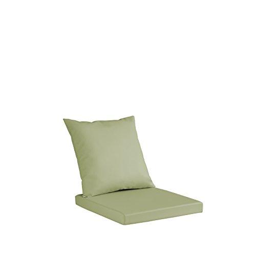 Set Merida Coussin pour banc, sofa ou chaises, en simili cuir hydrofuge, coussin d'assise en polyuréthane 8 cm de hauteur, coussin de dossier en ouate aux mêmes dimensions que le coussin d'assise 40X40 citron vert