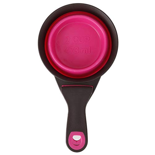 Bicaquu Silikon Haustiere Hunde Faltbare Scoop Food Measure Sealing Clamp Pink(中号) -