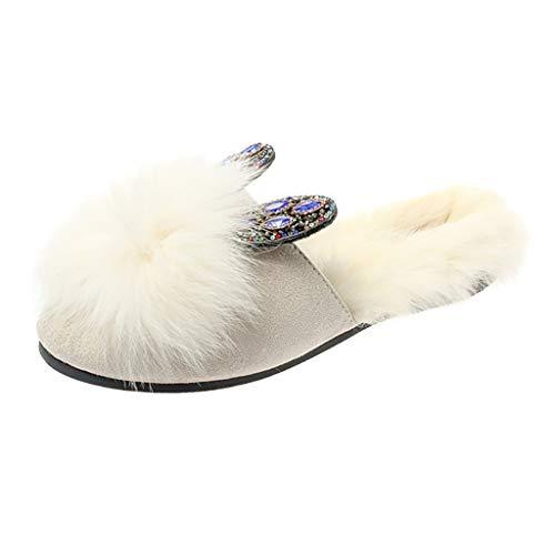 Damen Hausschuhe 2019 Frauen fügen Wolle warme Flache Fersen Kristall Kaninchen Ohren bedeckt Slipper Schuhe Basic Täglich Wild Indoor Warm Samt Herbst und Winter Hausschuhe(Weiß,35) (Schaffell-leder Flache Ferse)