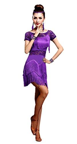 Honeystore 2017 Neuheiten Damen Kurzärmelig Quasten Swing Rhythmus Jazz Latein Dance Kleid Violett M