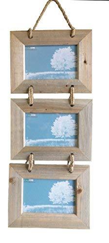 Marco fotos colgante triple fotos horizontal, madera